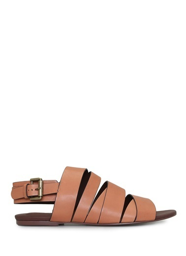 See By Chloe %100 Deri Sandalet Taba